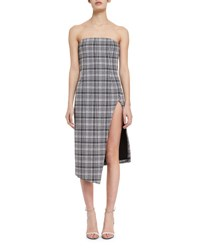 Off White Strapless Plaid Bustier Dress Black