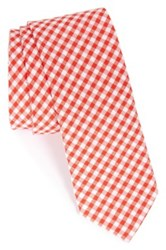 1901 'Dutra' Gingham Seersucker Cotton Tie Red
