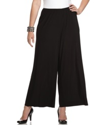 Alex Evenings Plus Size Pants Wide Leg Pull On Black