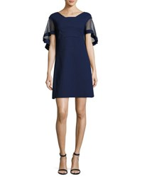 La Petite Robe Di Chiara Boni Jason Flutter Sleeve Cocktail Dress Navy