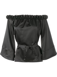 Jour Ne Ruffle Trimmed Off Shoulder Blouse Black