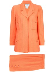 Chanel Vintage Fitted Skirt Suit Set Yellow And Orange