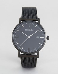 Sekonda Minimalist Black Mesh Watch Exclusive To Asos Black