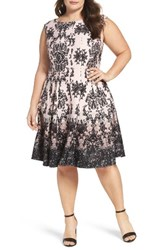 Gabby Skye Plus Size Women's Medallion Print Sleeveless Scuba Fit And Flare Dress