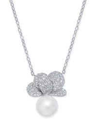 Danori Imitation Pearl And Crystal Pave Pendant Necklace 16 2 Extender Created For Macy's Rhodium