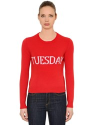 Alberta Ferretti Slim Tuesday Wool And Cashmere Sweater Red Pink