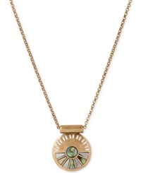 Lucky Brand Gold Tone Abalone Look Fan Decorative Disc Pendant Necklace