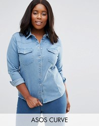 Asos Curve Denim Fitted Western Shirt In Light Wash Blue Light Blue