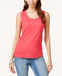 Karen Scott Cutout Tank Top Only At Macy's Pink Twist