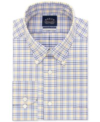 Eagle Men's Classic Fit Non Iron Stretch Collar Yellow Check Dress Shirt