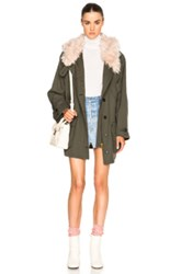 Smythe Anorak With Faux Fur Collar In Green