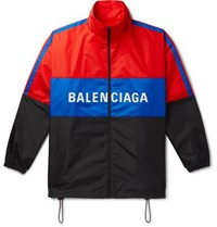 Balenciaga Oversized Colour Block Logo Print Ripstop Jacket Red