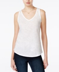 Maison Jules V Neck Tank Top Only At Macy's Bright White