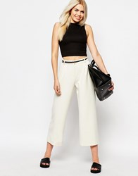 Monki Wide Leg Tailored Trouser White