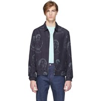 Band Of Outsiders Navy Marbles Summer Bomber Jacket