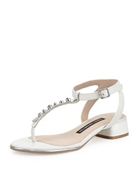 French Connection Cole Embellished T Strap Leather Sandal Summer White