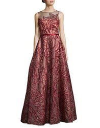 Basix Ii Embroidered Floor Length Dress Burgundy