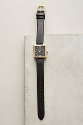 Anthropologie Squared Leather Watch Black