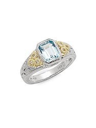Judith Ripka Estate Blue Topaz White Sapphire And Sterling Silver Ring