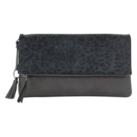 Mint Velvet Tilly Leopard Clutch Bag Charcoal