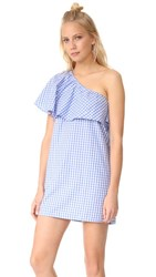 Mlm Label Henri Frill Shoulder Dress Blue White Gingham