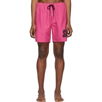 Saturdays Surf Nyc Pink Timothy Accordion Logo Swim Shorts