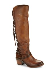 Freebird Coal Leather And Suede Knee High Boots Tan