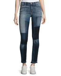 J Brand 811 Mid Rise Skinny Patchwork Jeans Reunion Blue Pattern