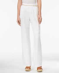Jm Collection Petite Linen Blend Pull On Pants With Chain Belt Only At Macy's Bright White
