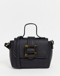 Glamorous Black Structured Cross Body Bag With Resin Buckle