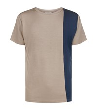Homebody Contrast Panel Lounge T Shirt Beige