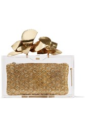 Charlotte Olympia Orchid Pandora Metallic Leather Trimmed Perspex Clutch Gold