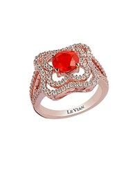 Le Vian Fire Opal Vanilla Diamond And 14K Rose Gold Ring 0.71 Tcw Red