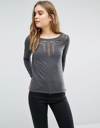 Jdy Lazer Cut Detail Top Dark Grey Marl
