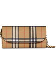 Burberry Vintage Check And Leather Wallet With Chain Black