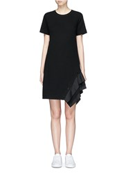 Proenza Schouler Ruffle Trim Jersey T Shirt Dress Black