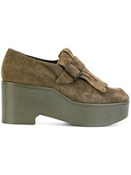 Robert Clergerie Xati Platform Loafers Women Leather Suede Rubber 39 Green