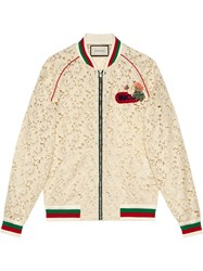 Gucci Flower Lace Bomber Jacket White