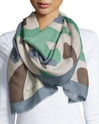 Burberry Large Camo Graphic Cashmere Scarf Blue Green