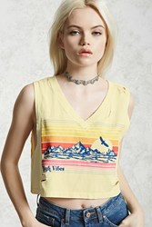 Forever 21 High Vibes Graphic Crop Top Yellow Orange