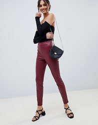 Miss Selfridge Faux Leather Skinny Trousers In Burgundy Red