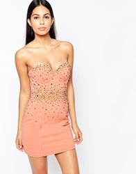 Rare Opulence Bustier Dress With Spike And Rhinestone Embellishment Blush