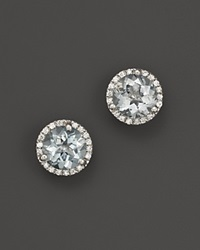 Bloomingdale's Aquamarine And Diamond Halo Stud Earrings In 14K White Gold Blue White