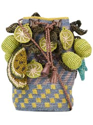 Jamin Puech Tropical Fruit Shoulder Bag Women Raffia One Size Green