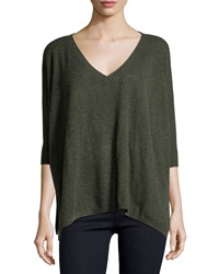 Minnie Rose Cashmere 3 4 Sleeve V Neck Sweater Forest Heather