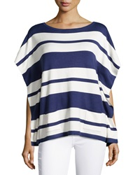 Neiman Marcus Nautical Stripe Knit Tunic Sweater Blue White