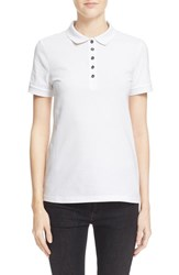 Women's Burberry Brit Check Trim Pique Polo Shirt White