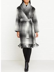 Alexander Wang T By Fringed Blanket Oversized Shawl Collar Coat Grey