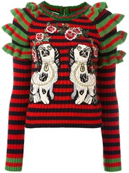 Gucci Embroidered Striped Knitted Jumper Green