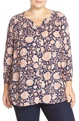Plus Size Women's Lucky Brand 'Jemma' Print Smocked Peasant Top